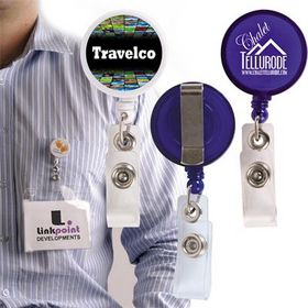 'Logo-Line' Retractable Name Badge Holder with Metal Clip