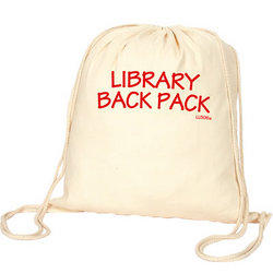 'Logo-Line' Calico Library Back Pack With Drawstrings