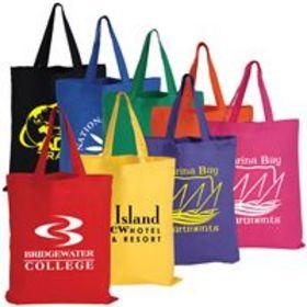 'Logo-Line' Coloured Cotton Short Double Handle Tote Bag