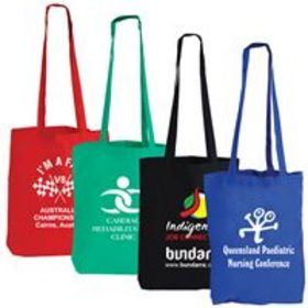 'Logo-Line' Coloured Cotton Double Long Handle Tote Bag