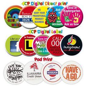 'Logo-Line' White Plastic Button Badge