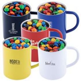 'Logo-Line' M and M's in Double Wall Stainless Steel Coloured Mug
