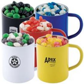 'Logo-Line' Corporate Colour Mini Jelly Beans in Double Wall Stainless Steel Coloured Mug
