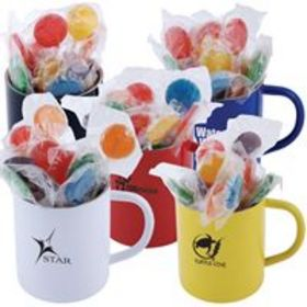 'Logo-Line' Assorted Colour Lollipops in Double Wall Stainless Steel Coloured Mug
