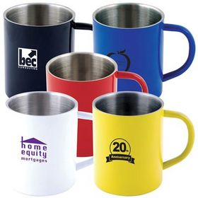 'Logo-Line' Stainless Steel Coloured Double Wall Mug