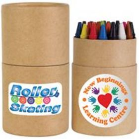 'Logo-Line' Assorted Colour Crayons in Cardboard Tube