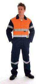 'DNC' HiVis Two Tone Cotton Coverall with 3M Reflective Tape