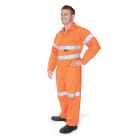 'DNC' HiVis Cool Breeze Orange Lightweight Cotton Coverall with 3M Reflective Tape
