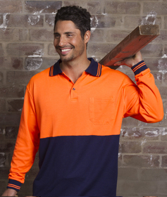 'Aussie Kings' Hi-Vis Optimus Cotton Back Long Sleeve Polo