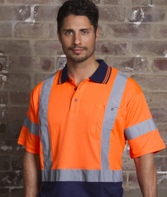 'Aussie Kings' Hi-Vis Optimus Cotton Back Short Sleeve Polo with Reflective Tape