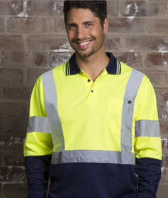 'Aussie Kings' Hi-Vis Optimus Cotton Back Long Sleeve Polo with Reflective Tape