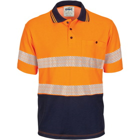 'DNC' HiViS Segment Taped Short Sleeve Cotton Jersey Polo
