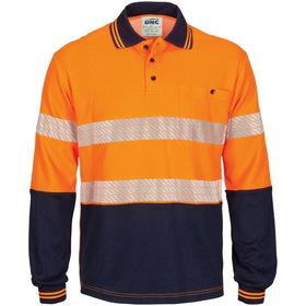 'DNC' HiViS Segment Taped Long Sleeve Cotton Jersey Polo
