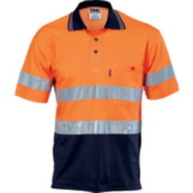 'DNC' Cotton Back HiVis Two Tone Short Sleeve Polo with Generic Reflective Tape