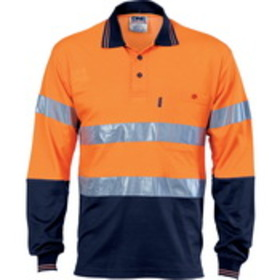'DNC' Cotton Back HiVis Two Tone Long Sleeve Polo with Generic Reflective Tape
