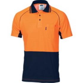 'DNC' HiVis Cotton Back Cool -Breeze Short Sleeve Contrast Polo