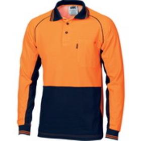 'DNC' HiVis Cotton Back Cool -Breeze Long Sleeve Contrast Polo