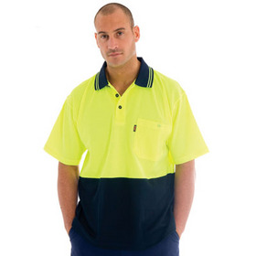 'DNC' Cotton Back HiVis Two Tone Short Sleeve Polo