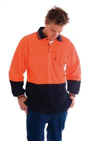 'DNC' Cotton Back HiVis Two Tone Long Sleeve Polo