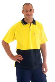 'DNC' HiVis Cool-Breeze Cotton Jersey Short Sleeve Polo Shirt with Under Arm Cotton Mesh