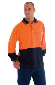 'DNC' HiVis Cool-Breeze Cotton Jersey Long Sleeve Polo Shirt with Under Arm Cotton Mesh