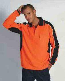 'DNC' Poly Cotton Long Sleeve Contrast Polo