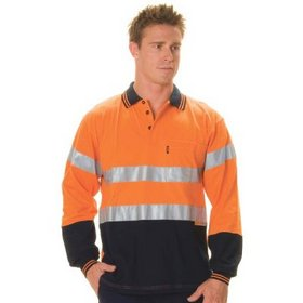 'DNC' HiVis Cool Breeze Long Sleeve Cotton Jersey Polo with 3M Reflective Tape