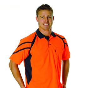 'DNC' HiVis Cool Breathe Short Sleeve Stripe Panel Polo Shirt