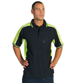 'DNC' Polyester Cotton Panel Short Sleeve Polo Shirt