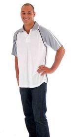 'DNC' Adult Cool-Breathe Twin Stripe Contrast Raglan Polo