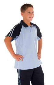 'DNC' Kids Cool-Breathe Twin Stripe Contrast Raglan Polo