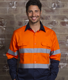 'Aussie Kings' Hi-Vis Optimus Cotton Drill Long Sleeve Shirt with Reflective Tape