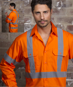 'Aussie Kings' Hi-Vis Newport Kool Smart Long Sleeve Shirt with Reflective Tape