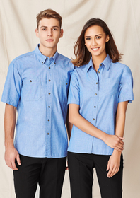 'Biz Collection' Mens Wrinkle Free Chambray Short Sleeve Shirt