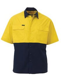 'Bisley Workwear' Lightweight HiVis Short Sleeve Drill Shirt