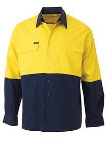 'Bisley Workwear' Lightweight HiVis Long Sleeve Drill Shirt