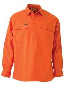 'Bisley Workwear' HiVis Closed Front Long Sleeve Drill Shirt
