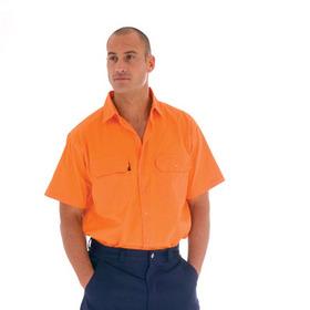 'DNC' HiVis Short Sleeve Cotton Drill Work Shirt