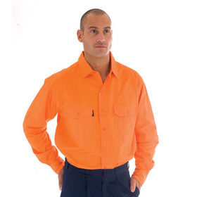 'DNC' HiVis Long Sleeve Cotton Drill Work Shirt