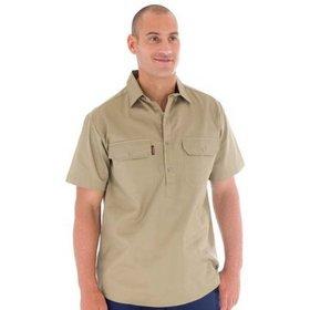 'DNC' Cotton Drill Close Front Work Shirt, Short Sleeve