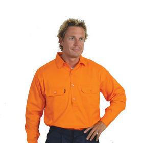 'DNC' HiVis Long Gusset Sleeve Close Front Cotton Drill Shirt