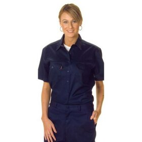 'DNC' Ladies Short Sleeve Cotton Drill Work Shirt