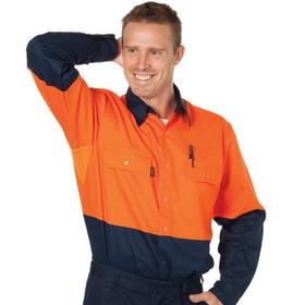 'DNC' HiVis Cool Breeze Vertical Vented Long Sleeve Cotton Shirt