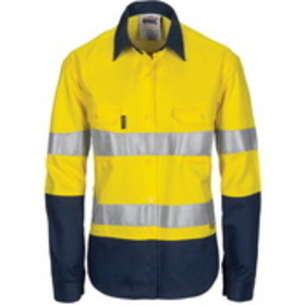 'DNC' HiVis Two Tone 3 Way Cool Breeze Long Sleeve Cotton Shirt with Gusset Sleeve with 3M Reflective Tape