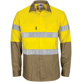 'DNC' HiVis Two Tone Cool Breeze Vertical Vented Long Sleeve Cotton Shirt with Gusset Sleeve and 3M Reflective Tape