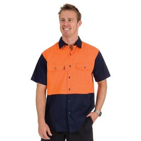 'DNC' HiVis Two Tone Short Sleeve Cotton Drill Shirt