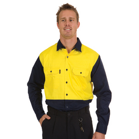 'DNC' HiVis Two Tone Long Sleeve Cotton Drill Shirt