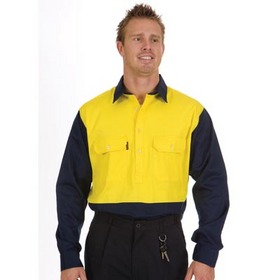 'DNC' HiVis Two Tone Long Gusset Sleeve Close Front Cotton Drill Shirt