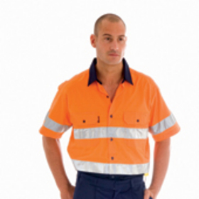 'DNC' HiVis Two Tone Cool-Breeze Short Sleeve Cotton Shirt with 3M Reflective Tape