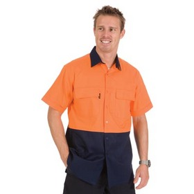 'DNC' HiVis 3 Way Cool Breeze Short Sleeve Cotton Shirt